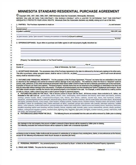 8 Generic Purchase Agreement Form Free Sle Exle Format Download Sles Mn Purchase Agreement Template