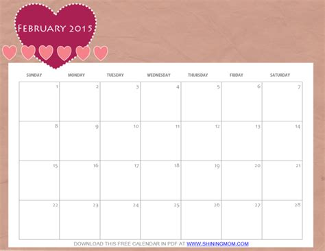 2015 calendar planner printable pdf just in cute february 2015 calendars