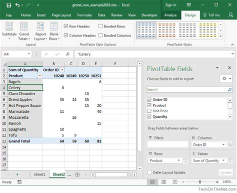 pivot tables in depth for microsoft excel 2016 books ms excel 2016 how to remove row grand totals in a pivot table