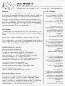 Theater Resume Exles by Theatre Instructor Resume Sle
