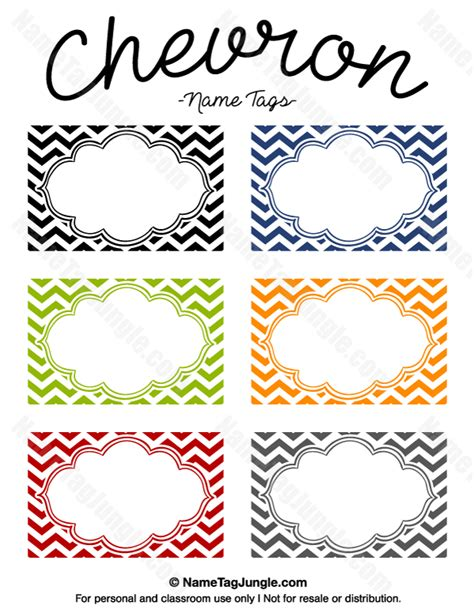 printable name label printable chevron name tags