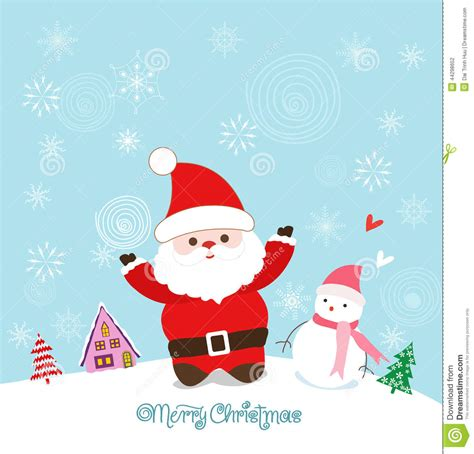 www imagenes de merry christmas merry christmas card with santa claus snowman and