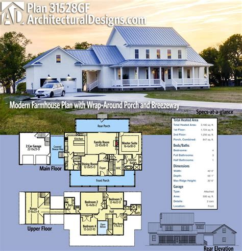 modern farmhouse house plans with porches fres hoom plan 31528gf modern farmhouse plan with wrap around porch