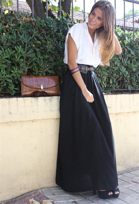white black fashion style maxi skirt summer image