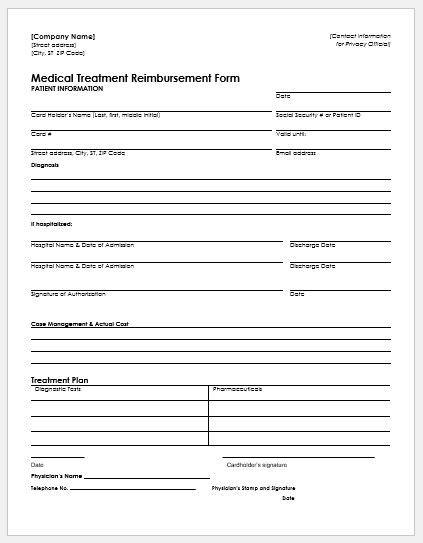 mileage reimbursement form template