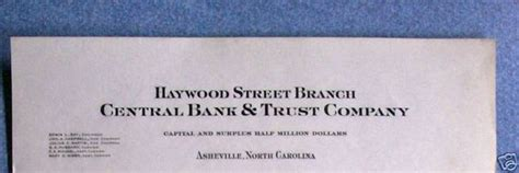 Central Bank Letterhead Central Bank Trust Asheville Bank Collapse