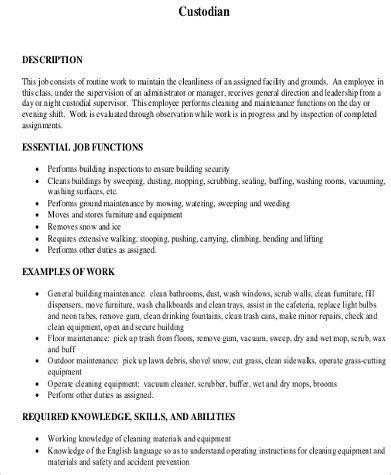 cv format qualifications sle custodian resume 8 exles in word pdf