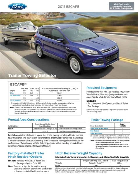 towing capacity for ford escape 2015 ford escape towing capacity information bloomington