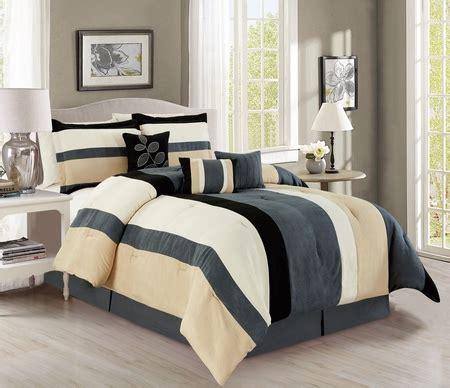 black and ivory comforter set 7 piece stripe micro suede gray black ivory comforter set