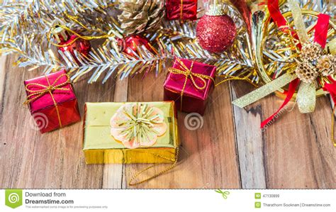 decorated gift box for christmas and new year stock photo