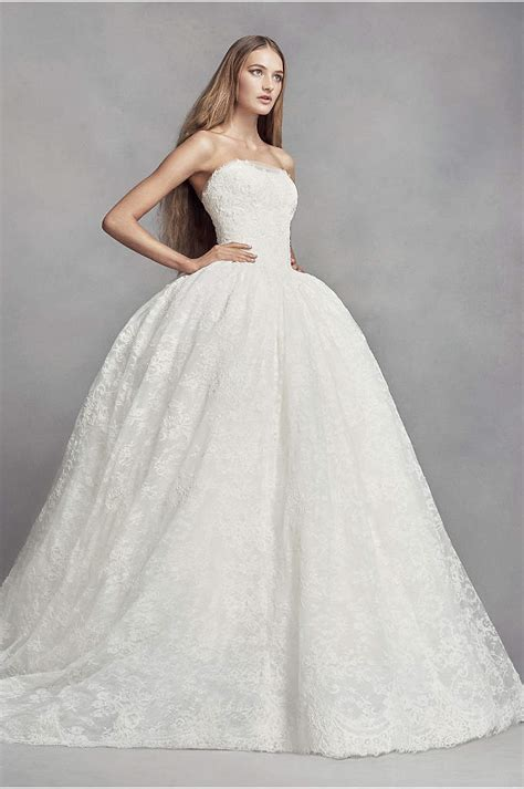 White Wedding Gowns by Lace Wedding Dress With Embroidered Details Davids Bridal