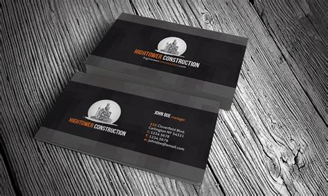 construction business cards templates free creative corporate business card template 187 free