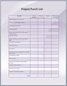 punchlist template pin punch list form on