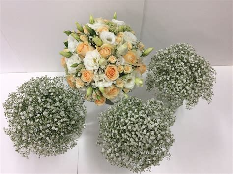 Wedding Posies by Wedding And Apricot Bridal Bouquet And Gyp Posies