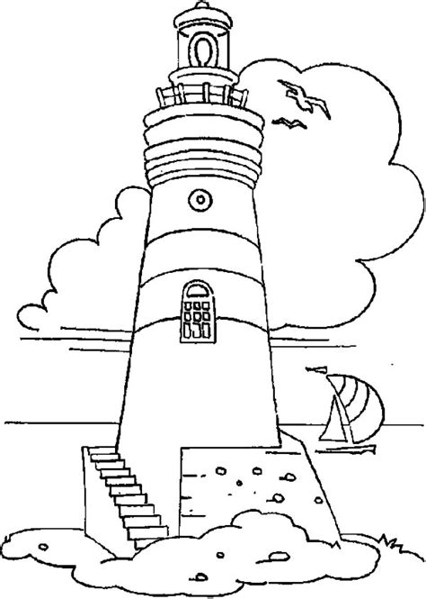 boat and lighthouse drawing lighthouse lighthouse and sailing boat coloring pages