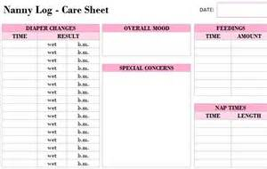 printable nanny log template my excel templates