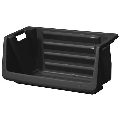 HUSKY Stackable Storage Bin in Black 232387   The Home Depot