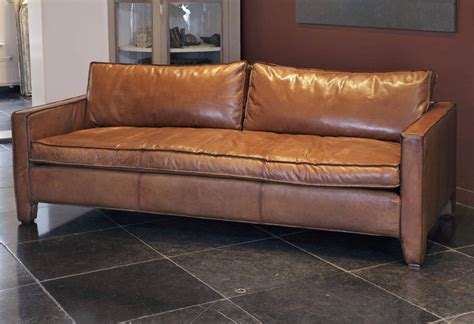 Comfortable Leather Sofa Comfortable Modern And Sleek Calfskin Leather Three Seat Sofa For Sale At 1stdibs