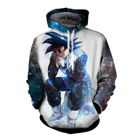 Jaket Sweater Nike 3d Turkis blue aura evil bad sitting goku black villain