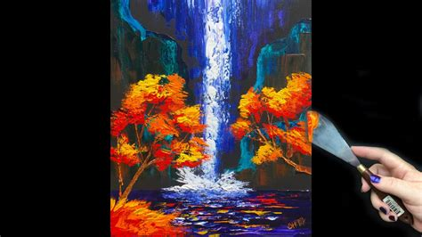 how to preserve acrylic paint on canvas beginner pallete knife fall waterfall tutorial