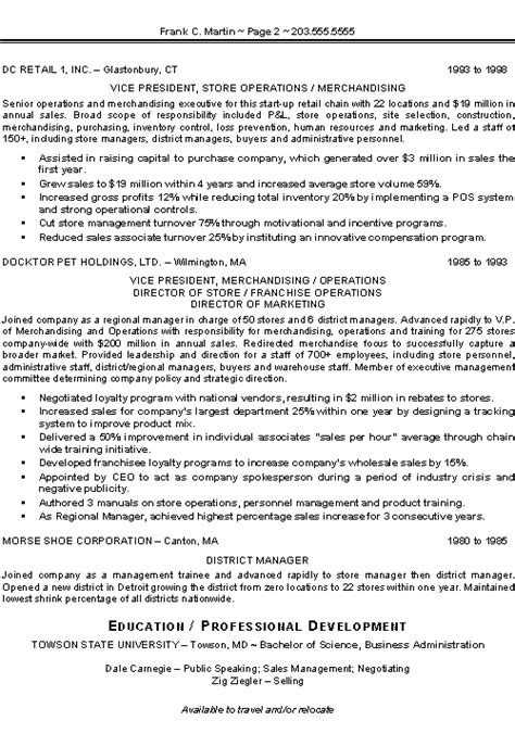 resume sles for sales executive marketing sales executive resume exle