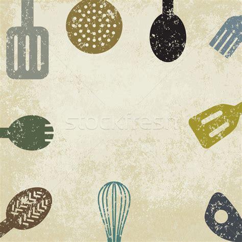 L Kitchen Design by Vintage Cooking Themed Background Vector Illustration