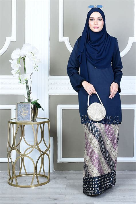 Fatimah Blue by Baju Kurung Batik Lasercut Fatimah High Blue
