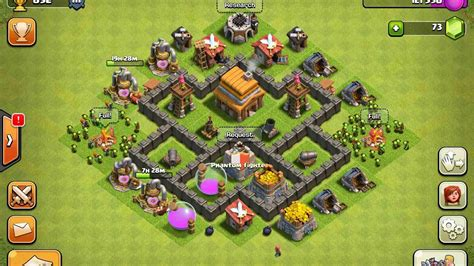 best layout in coc th 4 coc best th4 base of 2017 youtube