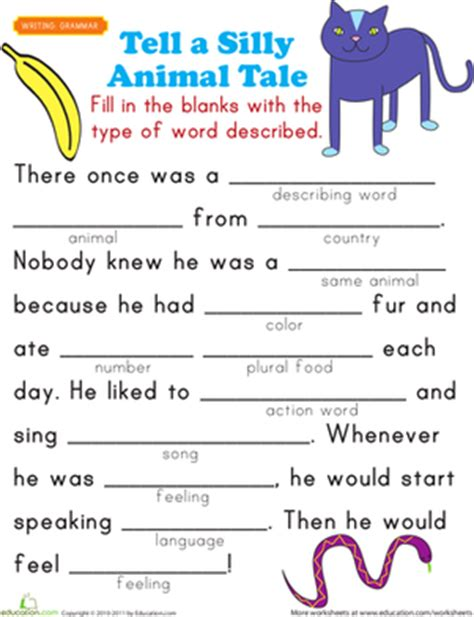 First grade comprehension grammar worksheets fill in a funny story 5