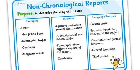 features of a biography ks2 display features of non chronological reports poster non