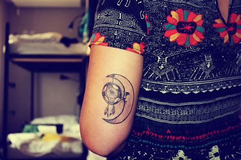 indie tattoos moon and dreamcatcher tattoos tattoos