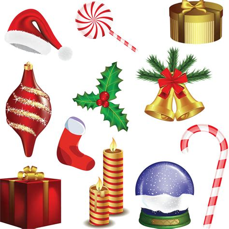 christmas decorations images clip art decoration set vector vector graphics
