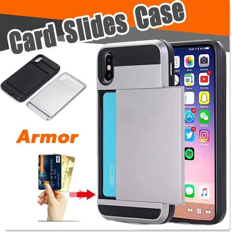 1000pcs hybrid tough dual layer card slides storage armor cases for iphone xs max xr x 8 7 6 6s