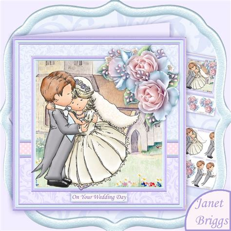 Free Decoupage Downloads For Card - wedding day groom hugs 8x8 decoupage card