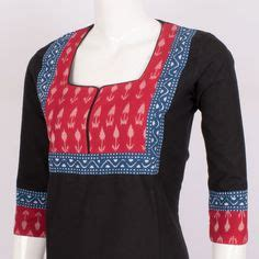 cotton ikat anghrakha magyar sleeves long kurta stylista red grey patchwork embroidered a line kurta