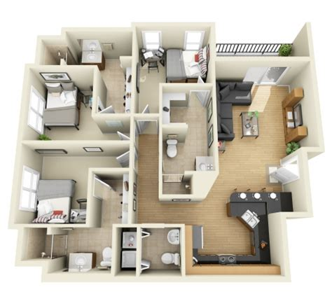 3 bedroom 3d floor plan interior design 3d