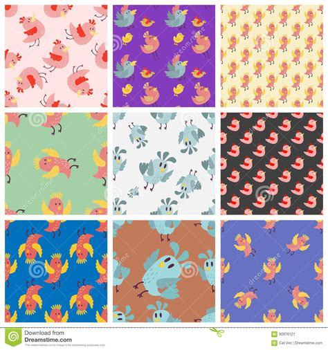 Colorful Set birds seamless pattern vector illustration colorful set vector