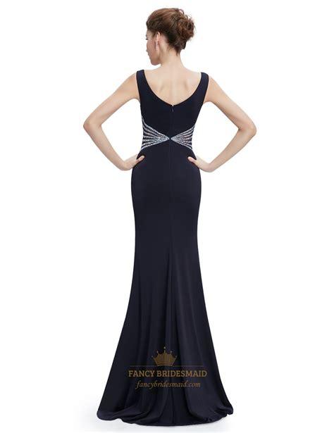 V Neck Prom Dress black mermaid sleeveless v neck prom dress with