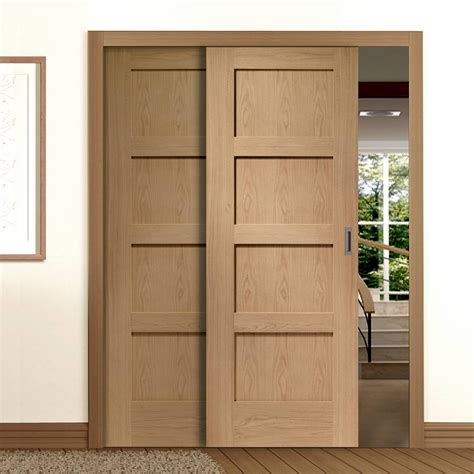 sliding doors easi slide op3 oak shaker 4 panel sliding door system in