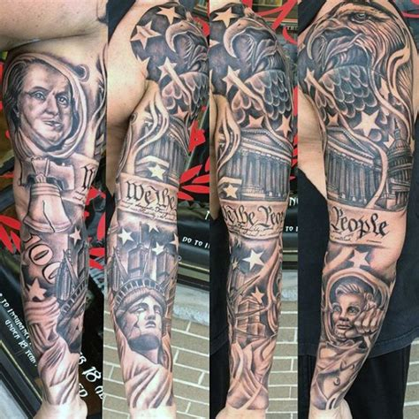 american quarter sleeve tattoo mens we the people american themed patriotic full sleeve