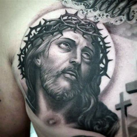 jesus rosary tattoo jesus face mens upper chest tattoo design with cross