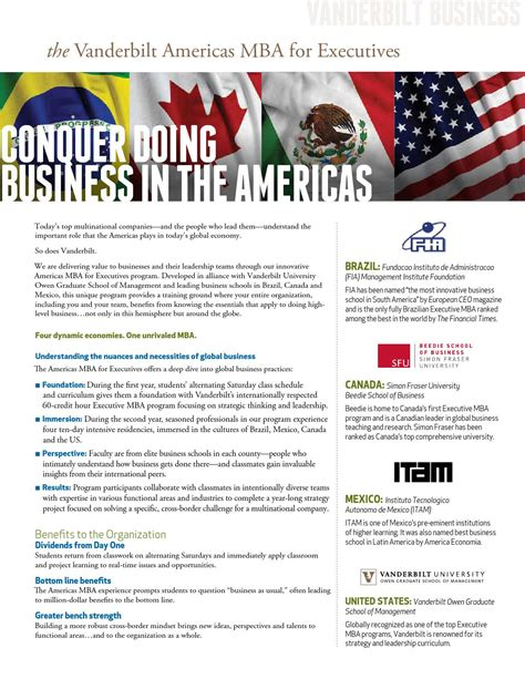 Executuive Mba Americas Program Portal by Vanderbilt Americas Mba For Executives Conquer Doing
