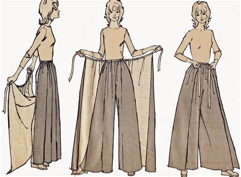sewing pattern trousers palazzo pants with skirt overlay pattern vintage 1970s