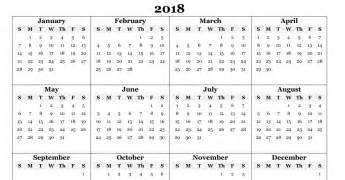Calendar 2018 Format Free 2018 Calendar In Printable Format Blank Templates