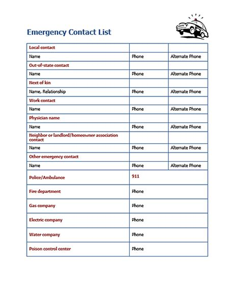 Emergency Contacts Template by Emergency Contact List Office Templates