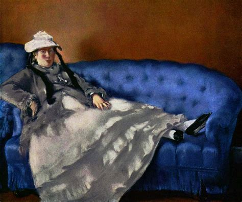 manet reclining woman portrait painting mrs manet on a blue couch