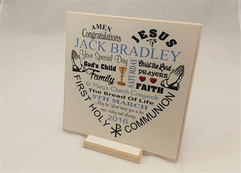 Handmade Christian Gifts - communion gift boy personalised wooden plaque