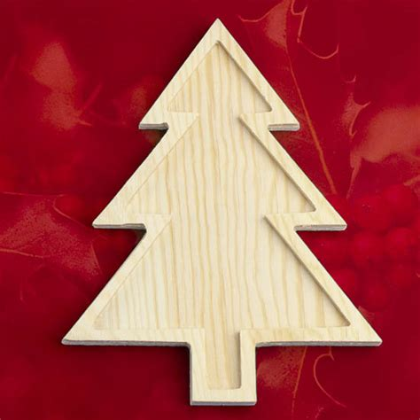 unfinished wood christmas tree with inlay wood cutouts