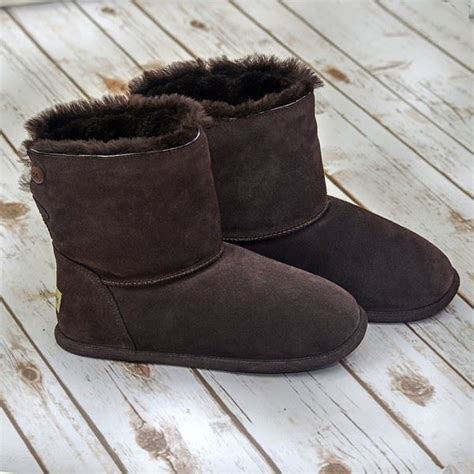 mens fuzzy boots chocolate sheepskin slipper boot