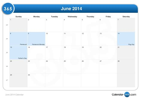 Calendar June 2014 June 2014 Calendar